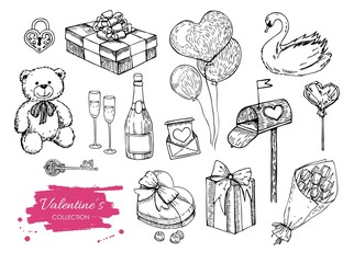 Vector Valentines day collection. Hand drawn