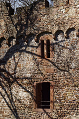 castle wall with shadows