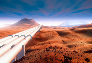 Giant water pipelines on Mars, Martian volcanic landscape