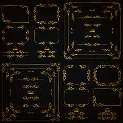Vector set of gold decorative borders, frame