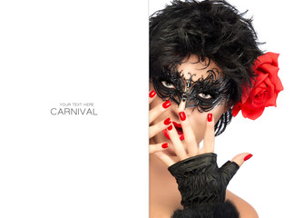 Beauty Fashion Woman with Elegant Mask. Carnival Concept