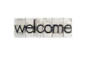 welcome  / caracteres d'imprimerie en plomb