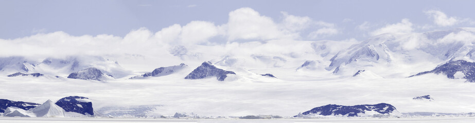Panorama of fast ice in Gustaf Sound, Wheddle Sea, Antarctica