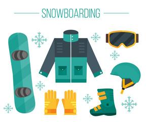 Snowboard equipment: jacket, boots, helmet, goggles, gloves, de