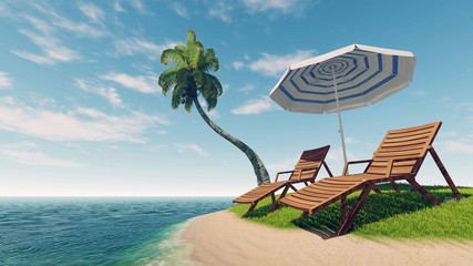 Two sunbeds, parasol and coconut palm on empty tropical island among calm ocean at daytime