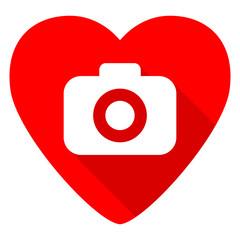 photo camera red heart valentine flat icon