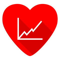 chart red heart valentine flat icon
