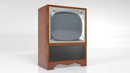 Old Television, vintage TV set isolated on white background