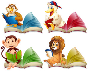 Wild animals reading books