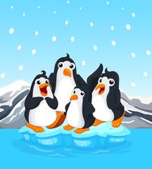Four penguins standing on iceberg