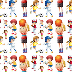 Seamless children playing sports
