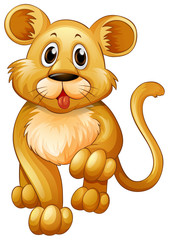Little lion with happy face