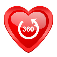 panorama red heart valentine glossy web icon
