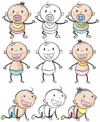 Baby boys and girls in different positions