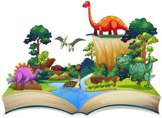 Book of dinosaur in the forest