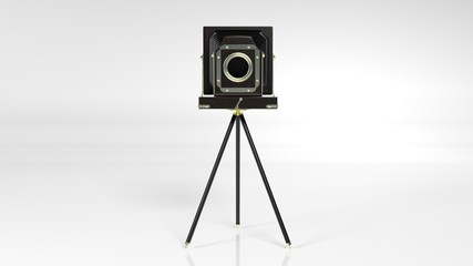 Old vintage camera on tripod isolated on white background, front view