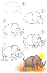 Page shows how to learn step by step to draw a rhinoceros. Developing children skills for drawing and coloring. Vector image.