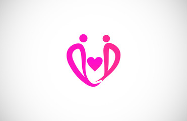 beauty love couple abstract vector logo