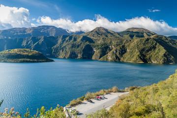 Volcanic crater lake Laguna Cuicocha in Ecuador