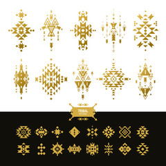 Vector Tribal elements gold colors