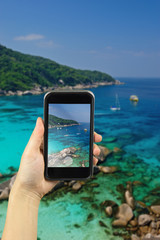 Paradise beach of Similan islands, Thailand. take photo by smart