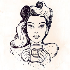 Beautiful pin-up girl with a coffee cup.