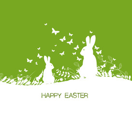 Easter background and rabbit in grass