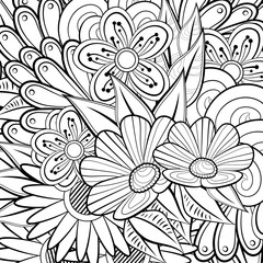Pattern for coloring book. Ethnic retro design