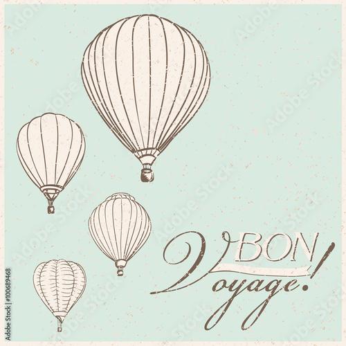 Vintage hot air balloons bon voyage background vector stock image vintage hot air balloons bon voyage background vector malvernweather Gallery
