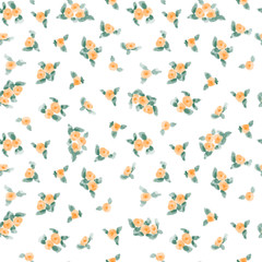 cute watercolor flowers seamless textile pattern. vector illustration