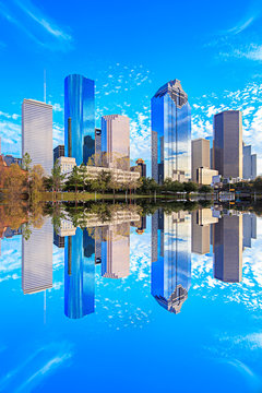 Houston Texas Skyline with modern skyscrapers and blue sky view
