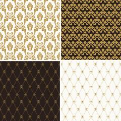 Seamless vintage floral background gold and black pattern