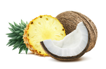 Pineapple coconut pieces composition 1 isolated on white backgro