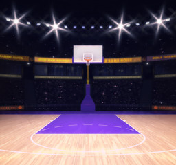 empty basketball court with spectators and spotlights