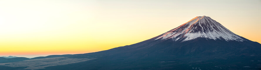 La pose en embrasure Jaune de seuffre Mountain Fuji sunrise Japan panorama