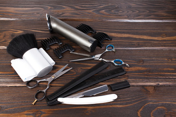 Hairdressing tools on copy space