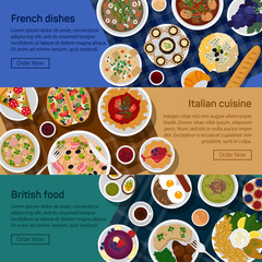 Vector flat illustration banners of british, italian, french national dishes. Egg, bread, croissant, fried potato, haute, nouvelle, bisque, sauce, grape, lemon, pizza, sausage, roasted beef.