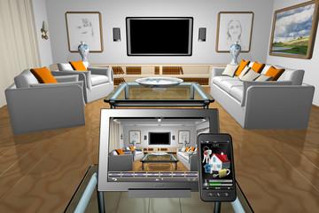 Home Domotica_002 Interno di abitazione con, in primo piano, smartphone e tablet  con applicazioni domotica.