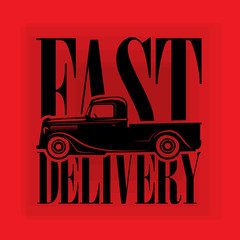 Retro Hot Rod poster wit text Fast Delivery