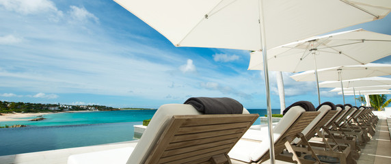 Pool with view at Caribbean