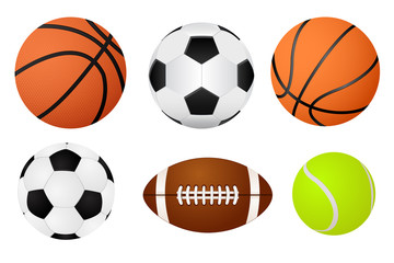 Basketball ball, soccer ball, tennis ball and american football.