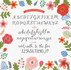 Floral background with a set of handwritten letters