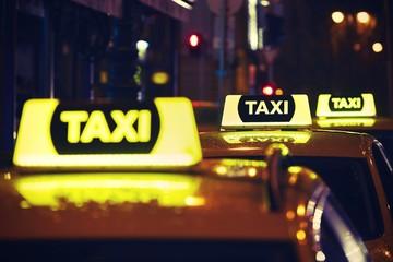 Taxi car at night