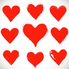 set of grunge hearts,  vector
