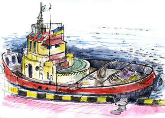 boat at the port, watercolor. ink