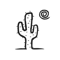 doodle cactus in desert,  illustration icon