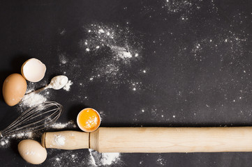 Cooking ingredients on a black background.