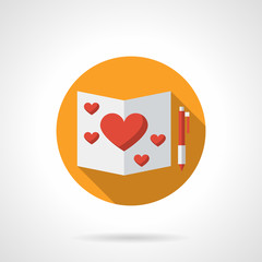 Romantic feelings yellow round flat vector icon