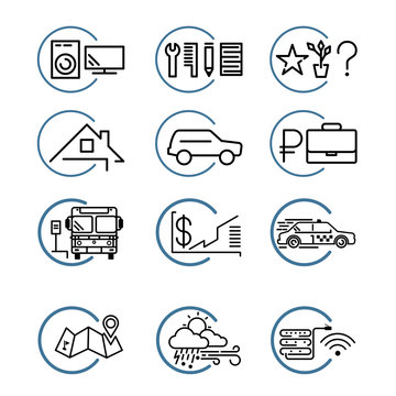 advertisement linear icons set