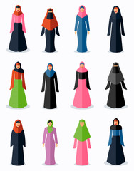 Muslim woman flat icons. Female traditional culture, arabic islam religion, vector illustration